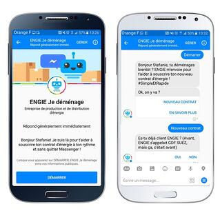 Le chatbot sur Facebook Messenger d'Engie