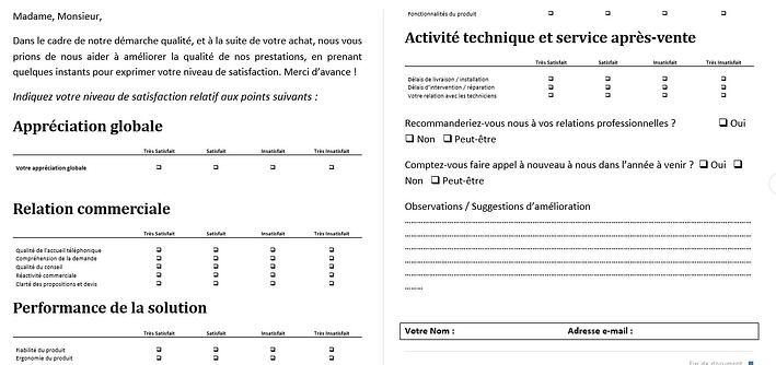 Exemple questionnaire de satisfaction