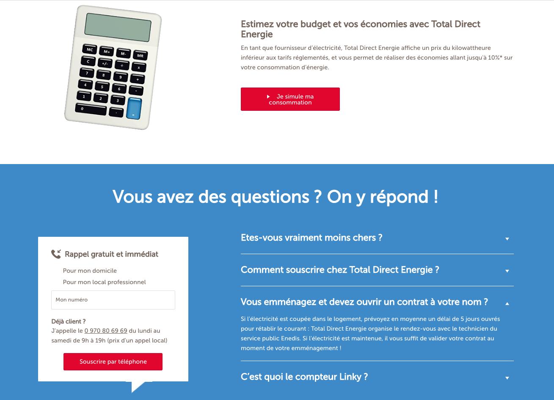 La FAQ contextualisée de Total permet de réassurer l'internaute dans le parcours client